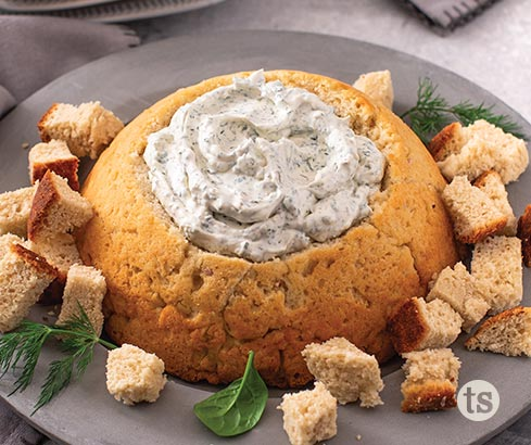 Bountiful Beer Bread Bowl with Spinach & Herb Dip Recipe