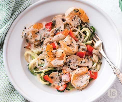 Creamy Shrimp and Zoodles Recipe | Tastefully Simple